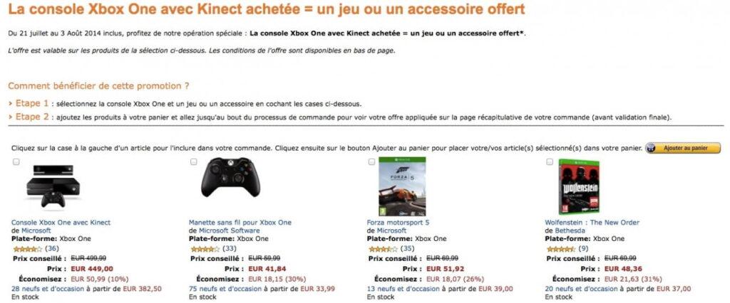 Xbox One + Kinect + 1 jeu (ou accessoire) pour 449¤ !