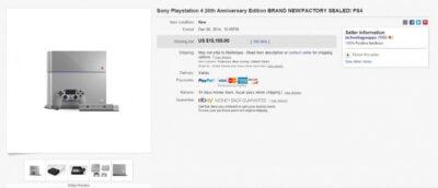 Une PS4 vendue 30 fois son prix de vente !