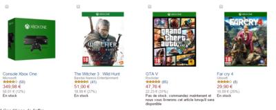 la console Xbox One et les jeux The Witcher 3 : Wild Hunt, Far Cry 4 et GTA V e