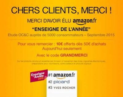 Amazon vous offre 10¤ de réduction avec le code GRANDMERCI