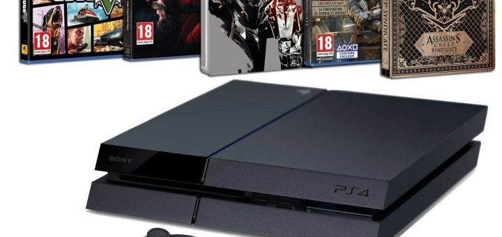 Pack PS4 500 Go + Metal Gear Solid V : The Phantom Pain + Assassin's Creed : Syndicate + GTA V + 2 Steelbook à 389€ !!!