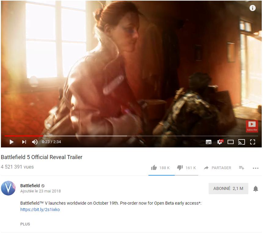 Battlefield V et sa barre de dislikes