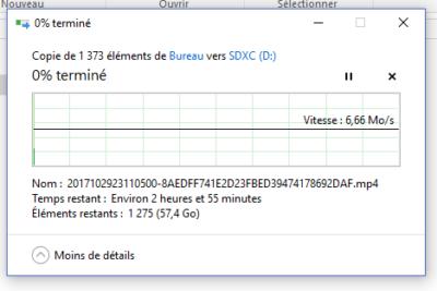 """Il vous faudra 2 heures pour """"remplir"""" la """"fake"""" carte Micro SD Samsung Evo +à 50%..."""
