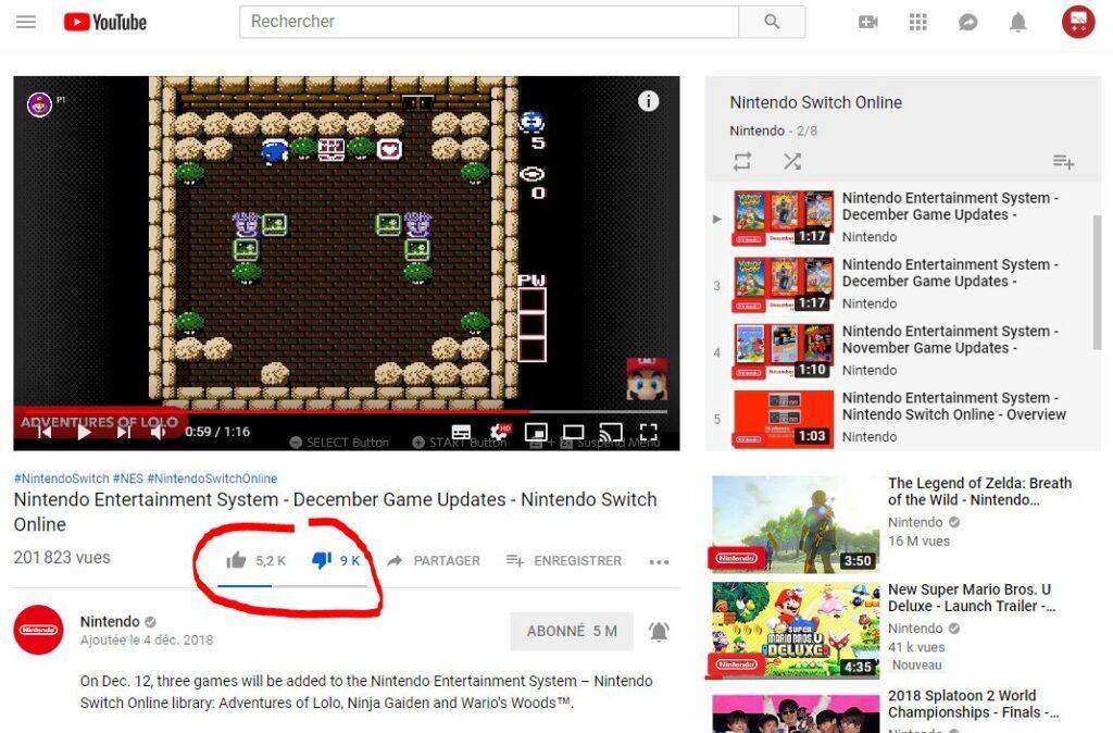 La barre de dislike, quelques jours après la sortie de la vidéo.