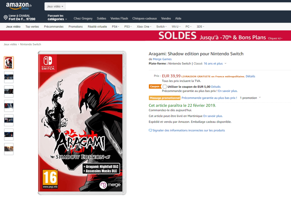 Aragami: Shadow edition bénéficie de 5€ de réduction !
