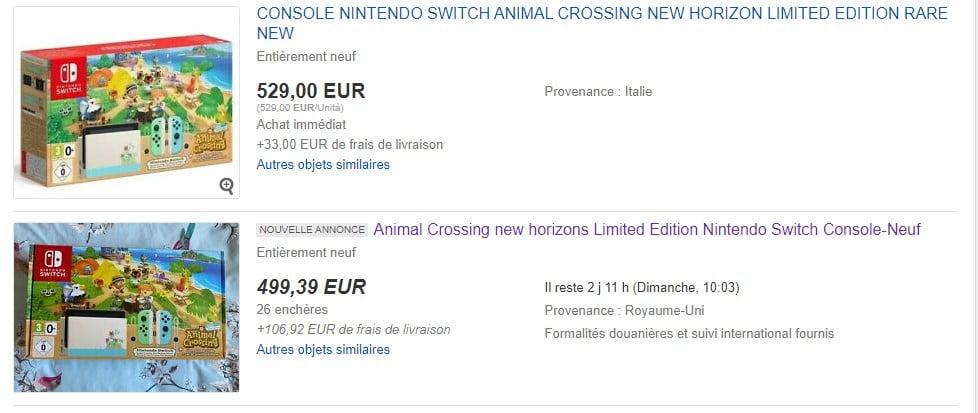 Nintendo Switch Animal Crossing sur eBay